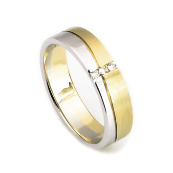 14K yellow gold white gold diamond women and mens wedding ring