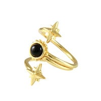 Mystical Wrap Ring in Gold with Onyx