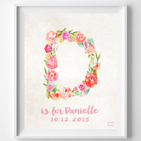 Personalized, Print, Danielle, Custom Name, Nursery Art, Baby Room, New Born, Daisy, Diana, Debbie, Doris, Dakota, Gift, D, Girl