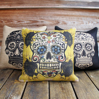 Set of 3 Sugar Skull Pillow Covers, Throw Pillow, Halloween Decoration, Day of the Dead, Día de los Muertos, 16x16