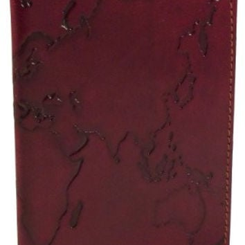 Handmade Genuine Leather Passport Cover by Eliza Fair Trade - World Map