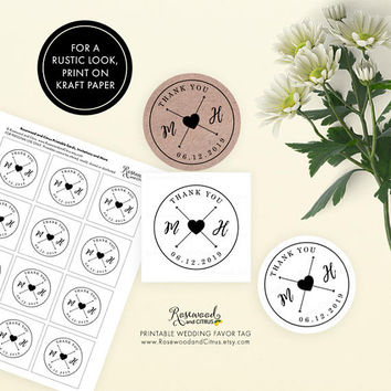 Monogram Wedding Favor Tags, Printable Wedding Tags, Wedding Thank You Tags, Wedding Favor Labels, Thank You Favor Tags, Heart and Arrows