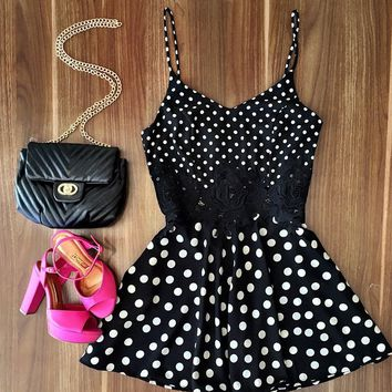Polka Dot Print Strappy Lace Patchwork Dress