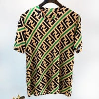 Fendi Fashion New More Letter Print Women Men Loose leisure Top T-Shirt Green