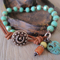 Southwestern knotted bracelet - Lucky Charm - turquoise heart horseshoe rustic verdigris green , leather, sundance equestrian country chic