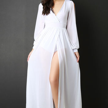 Surplice Slit Blouson Sleeve Mesh Maxi Dress