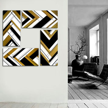 "Made to order. Original abstract painting 51x12"" 4 piece canvas art. Large painting. Gold painting. Modern wall art. Metallic painting."