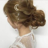Moon Charm Hairclip - Vintage Women Crystal Rhinestone Moon Tassel Drop Hair Pin Clip Gift Headdress