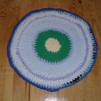 Handwoven upcycled/round  t-shirts floor mat rag rug-70cm