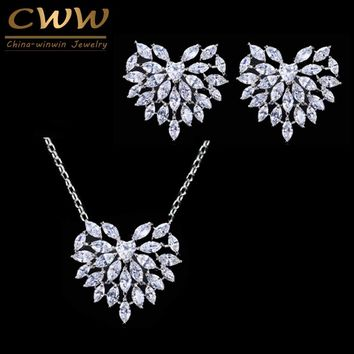 CWWZircons Cute Romantic Heart Shape Cubic Zirconia Earring Necklace Set Fashion Jewelry For Women Valentines Day Gift T066