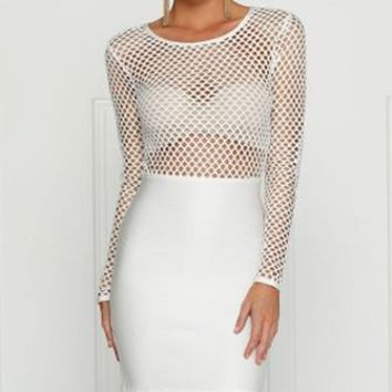 Winning Streak White Long Sleeve Sheer Mesh Fishnet Scoop Neck Bodycon Bandage Midi Dress