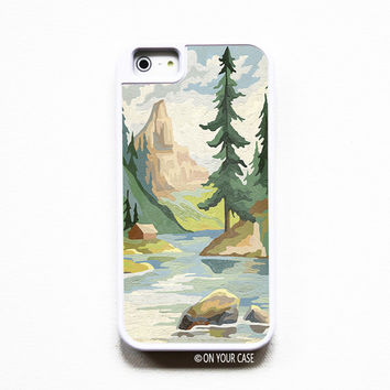 iPhone 5 Case. iPhone 5S Case. Silicone Lined Tough Case - Vintage Paint By Numbers Mountains