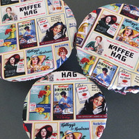 Reusable Bowl Covers, Elastic Bowl Lids, Eco Friendly Lids, Vintage Food Advertising Signs Bowl Covers