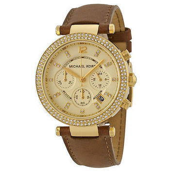 NEW Michael Kors Women's MK2249 Parker Chronograph Gold Dial Brown Leather Watch