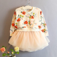 Korean Style 2015 Spring New Arrival Childrens Clothing Baby Girls Fashion Printing Flower Hoodies Yarn Dresses Kids Baby Doll Dresses.