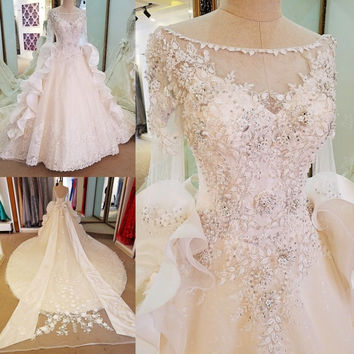 LS58979 robe de mariee manche longue corset back beaded crystal ball gown luxury wedding dress with long tail  ivory real photos