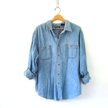 Vintage denim shirt. Distressed jean shirt. Button down chore shirt. oversized Boyfriend shirt.