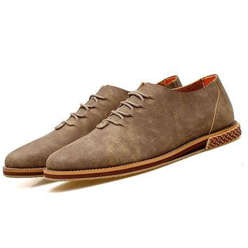 Men Vintage Microfiber Leather Stylish Lace Up Casual Shoes