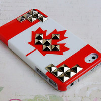 iPhone 5 case,Bright CA Canada Flag Maple Leaf Skin case studded iPhone 5 Case,cute Studs Handmade Phone Case iPhone 5 case Hard Cover