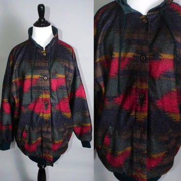 Vintage 1990s Flannel and Nylon SOUTHWESTERN print Pendleton Style REVERSIBLE Zip up windbreak Jacket