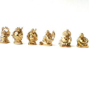 mini buddha statue set, buddha figurines, metallic gold, bohemian home decor