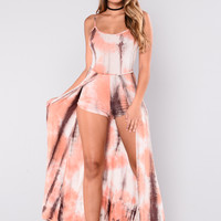 Debbie Tie Dye Dress - Orange