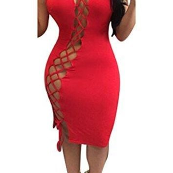 Women's Sexy Club Dress Halter Hollow Out Lace Up Bodycon Bandage Dress