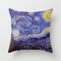 Vincent Van Gogh Starry Night Throw Pillow by Art Gallery