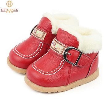 New Winter Baby Thermal Shoes  Fur Warm First Walkers Toddler Leather Shoes Boy & Girl Moccasins,