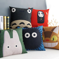 Studio Ghibli Miyazaki Hayao's Cartoon Sofa Cushions, Totoro, Spirited Away, Cotton Pillow Sofa Cushions with Pillowcases