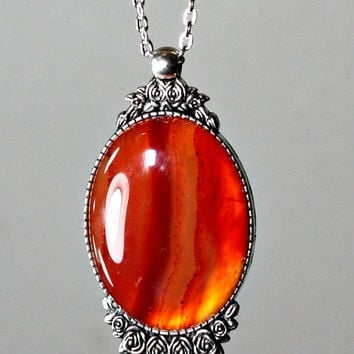 Agate Stone Pendant Necklace - Oval Cabochon / Silver Plated Chain & Ornate Setting - Orange / Honey Stone - Unique Holiday Gift -