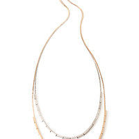 FOREVER 21 Square-Shaped Bead Necklace Gold/Silver One