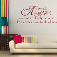 Christian Wall Decal. Above All Love Each Other 2 - CODE 165