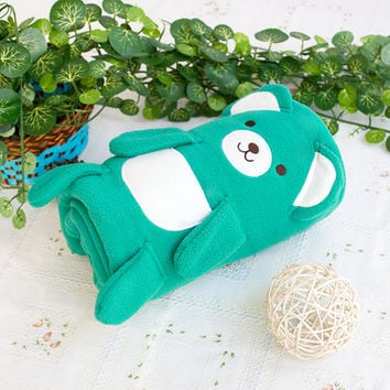 Happy Bear Green Embroidered Applique Coral Fleece Baby Throw Blanket in 42.5 by 59.1 inches