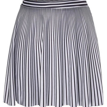 Women Stripe High Waist Mini Skater Skirt