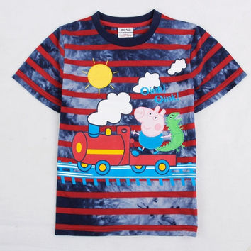 Nova children T-shirts cotton boys clothes embroidery peppa pig striped kids clothes casual T-shirts = 1930195268