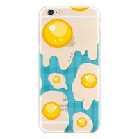 Transparent Clear TPU Egg Yolk Blue Phone Back Cover Case Shell For Apple iPhone 4/4S/5/5S/5C/SE/6/6S/6 Plus/6S Plus
