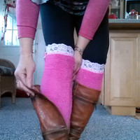 Red Boot socks adorned with lace and cute buttons - Warm. Trendy. Stretchy. Comfortable.