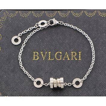 BVLGARI Fashion Pop Spring Bracelet Couples Jewelry Gifts F-HLYS-SP Silver