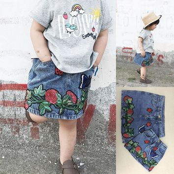 Family matching outfits baby girl high waist A-line skirt poppy butterfly applique embroidered denim skirt for mom&daughter