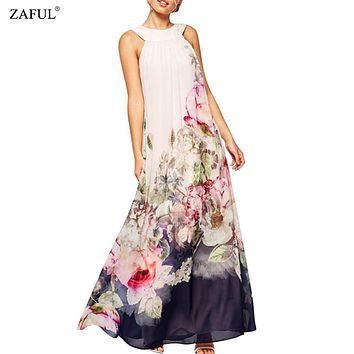 ZAFUL 2017 Chiffon Summer Maxi Dresses Women Sexy Sleeveless Beach Bohemian Dress Retro Floral Print Long Dresses Robe Plus Size