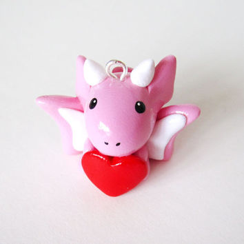 Cute Love Heart Pink Dragon Polymer Clay Charm