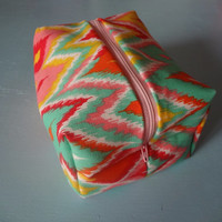 Wipeable Zippered Travel Organizing Pouch Pink Blue Yellow Orange Red Diamonds Chevron