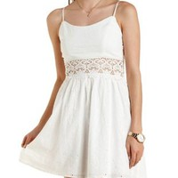 White Crochet-Waist Eyelet Skater Dress by Charlotte Russe