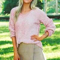 Classic V-neck Sweater Pink