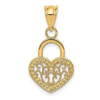 14k Yellow Gold Filigree Heart Key Hole Lock Pendant, 12mm