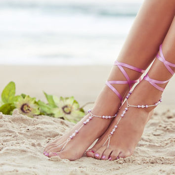 Barefoot Sandles, lilac wedding, pink bridesmaid foot jewelry, beaded feet jewlery, soleless sandals, beach shoes. GEORGIA Pink