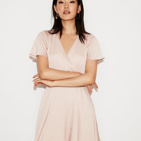 Satin Surplice Flutter Sleeve Fit And Flare Dress