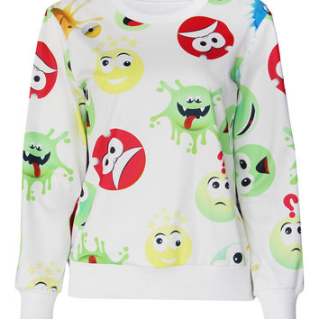 White Emoji Print Sweater Long Sleeve Tracksuits