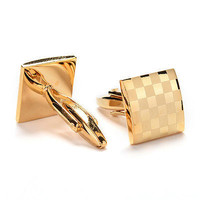 1 Pair MEN'S CUFFLINKS GOLD STAINLESS STEEL MENS WEDDING CUFF LINKS EW